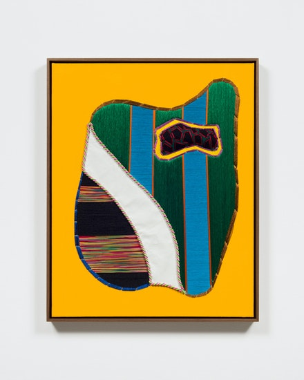 Tony Cox, <em>BoBo Fetish</em>, 2017. Thread, acrylic, fabric, poly stuffing, cording on canvas in walnut frame, 31 x 25 inches. Courtesy the artist and Marlborough, New York and London. Photo: Pierre Le Hors.