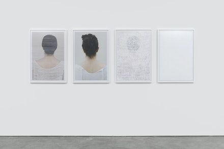 Ghazaleh Hedayat, <i>(un)threading,</i> 2018, scratched C-print. Each print: 96 x 66 cm. Courtesy the artist. <i>Nine Iranian Artists in London: The Spark Is You,</i> installation view at Parasol unit, London, 2019. Photography by Benjamin Westoby.