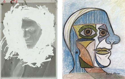 Left: Dora Maar, <em>Portrait de Picasso</em>, Paris, studio du 29, rue d'Astorg, Hiver 1935 - 1936. Silver negative on cellulose nitrate, 4 3/4 x 3 1/2 inches. Collection of the Centre Pompidou, Paris, Musèe national d'art moderne, Centre de crèation industrielle. © Adagp, Paris 2019. Photo © Centre Pompidou, MNAM-CCI / Dist. RMN-GP. Right: Dora Maar, <em>Pablo Picasso</em>, 1936. Pastel on paper. 22 1/2 x 17 3/4 inches. Courtesy Galerie Brame et Lorenceau. © Adagp, Paris 2019. Photo © The Museum of Fine Arts, Houston.