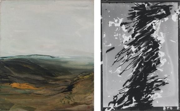 Left: Dora Maar, <em>Paysage du Lubèron</em>, 1950. Oil on canvas, 21 1/2 x 18 inches. Private collection of Nancy B. Negley. © Adagp, Paris 2019 Photo © Brice Toul. Right: Dora Maar, <em>Untitled</em>, c.1980. Silver gelatin print, 3 1/2 x 2 1/4 inches. Collection of the Centre Pompidou, Paris, Musèe national d'art moderne, Centre de crèation industrielle. © Adagp, Paris. Photo © Centre Pompidou, MNAM-CCI / P. Migeat / Dist. RMN-GP.