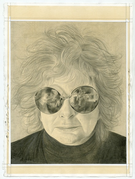 Portrait of Joyce Pensato, pencil on paper by Phong Bui.