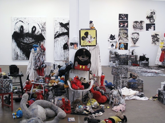 Installation view: <em>Joyce Pensato: Batman Returns</em>, Petzel, 2012. Courtesy the artist and Petzel, New York. Photo: Larry Lamay.