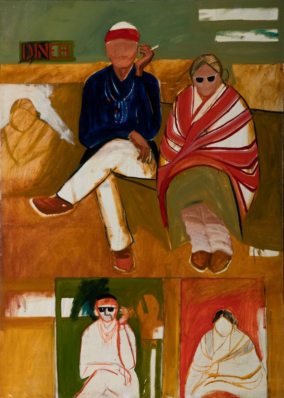 <i>T.C. Cannon,  Mama and Papa Have the Going Home Shiprock Blues, 1966. Acrylic and oil on canvas. Institute of American Indian Arts, Museum of Contemporary Native Arts, Santa Fe, New Mexico. © 2019 Estate of T.C. Cannon. Photo Addison Doty.</i>