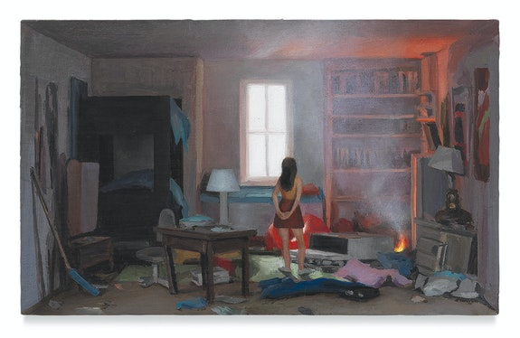Amy Bennett, <em>Problem Child</em>, 2018, Oil on panel, 2 3/4 x 4 1/2 inches. Courtesy the artist and Miles McEnery Gallery, New York.