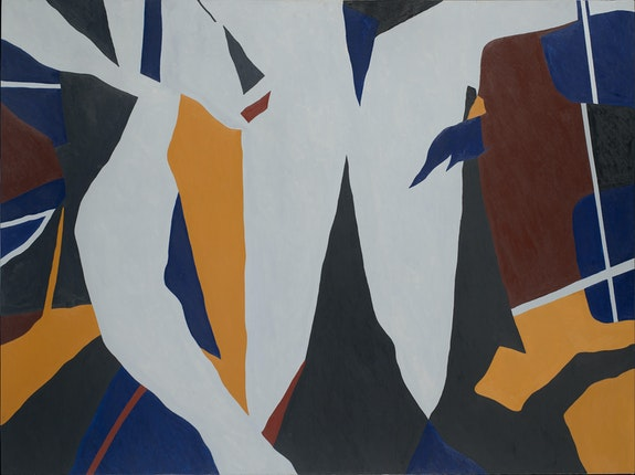Ralston Crawford,<em> Torn Signs</em>, April 15, 1974-1976. Oil on canvas, 54 x 72 inches. Vilcek Collection. Courtesy the Vilcek Foundation, New York.