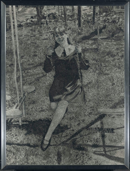 Richard Artschwager, Woman on Swing (Portrait of Ruth Dworken), 1969. Acrylic on Celotex in artist's frame, 50 x 38 inches. Hall Collection. © Richard Artschwager.