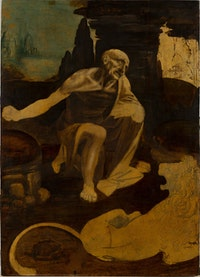Leonardo da Vinci, Saint Jerome Praying in the Wilderness, begun ca. 1483. Oil on wood, 40 1/2 x 29 1/4 inches. Vatican City, Musei Vaticani. Photo: © Governatorate of the Vatican City State - Vatican Museums. All rights reserved.
