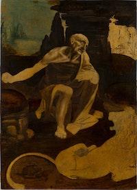 Leonardo da Vinci, Saint Jerome Praying in the Wilderness, begun ca. 1483. Oil on wood, 40 1/2 x 29 1/4 inches. Vatican City, Musei Vaticani. Photo: © Governatorate of the Vatican City State - Vatican Museums. All rights reserved.