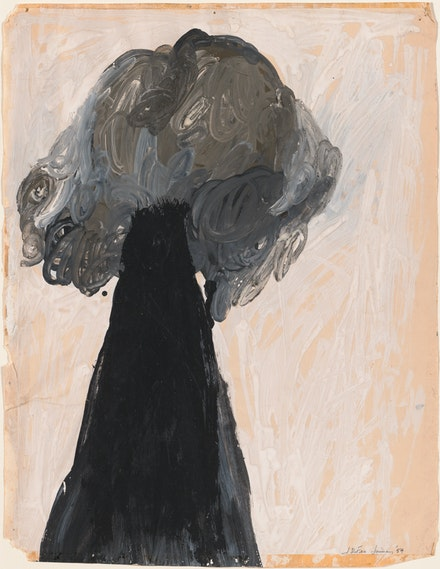 Jay DeFeo, <em>Untitled (Tree series)</em>, 1954. Tempera on paper, 15 1/4 x 11 3/4 inches. Courtesy Marc Selwyn Fine Arts.