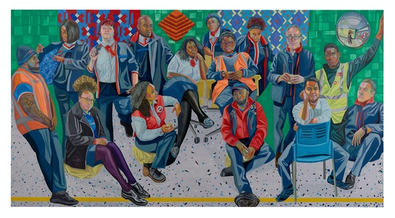 Aliza Nisenbaum <em>London Underground: Brixton Station and Victoria Line Staff</em>, 2019. Oil on polyester, 74 3/4 x 142 1/8 inches. Courtesy Anton Kern Gallery.