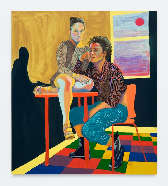 Aliza Nisenbaum, <em>Ximena and Randy, Sunrise</em>, 2018. Oil on linen, 64 x 57 inches. Courtesy Anton Kern Gallery.