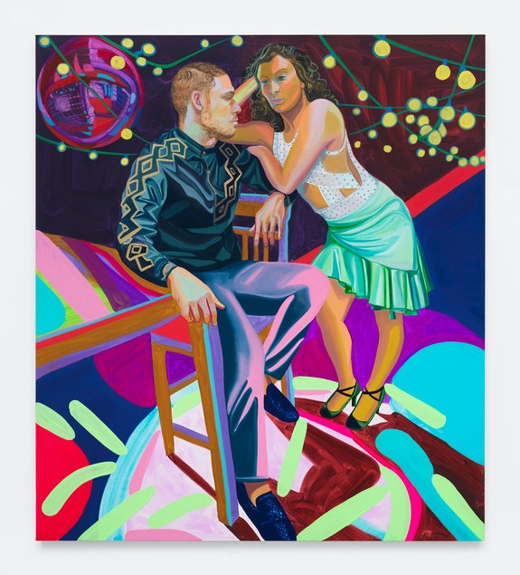 Aliza Nisenbaum, <em>Jenna and Moises</em>, 2018. Oil on linen, 64 x 57 inches. Courtesy Anton Kern Gallery.
