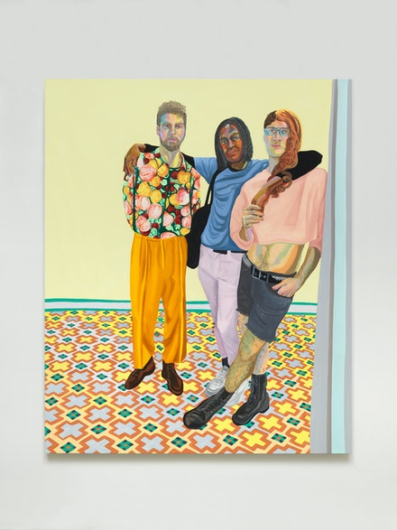 Aliza Nisenbaum, <em>Puro Teatro (Jorge, Carlos and Brendan)</em>, 2018. Oil on linen, 77 x 63 inches. Courtesy Anton Kern Gallery.
