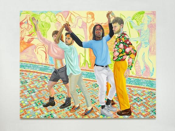 Aliza Nisenbaum, <em>Mis Cuartro Gracias (Brendan, Camilo,Carlos, Jorge)</em>, 2018. Oil on linen, 75 x 95 inches. Courtesy Anton Kern Gallery.
