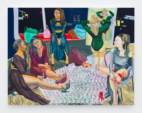 Aliza Nisenbaum, <em>Anya's Dancers</em>, 2018. Oil on linen, 68 x 88 inches. Courtesy Anton Kern Gallery.