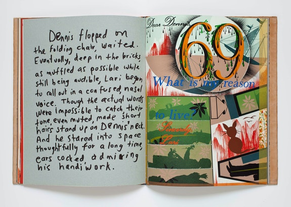 Dennis Cooper, Jonathan Hammer, and Lari Pittman, <em>have you seen . . .</em> , 1991. Artist book with leathercover inlaid and onlaid with sharkskin, stingray skin, plastic, and paper, tooled in gold, silver, and palladium, full suede doublures. Closed: 18 1/2 × 15 × 3/4 inches; sheet: 18 1/2 × 15 inches; slipcase: 19 1/4 × 15 1/4 × 1 1/2 inches. UCLA Grunwald Center for the Graphic Arts, Hammer Museum, Los Angeles. Gift of Brenda R. Potter. © Lari Pittman, courtesy of Regen.Projects, Los Angeles.