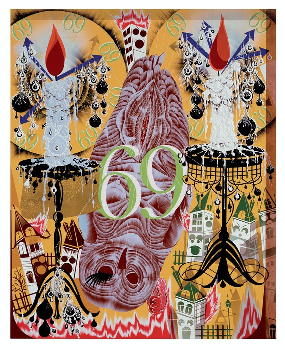Lari Pittman, <em>Transfigurative and Needy</em>, 1991. Acrylic and enamel on mahogany. 82 x 66 inches. Collection of Gary and Tracy Mezzatesta. © Lari Pittman, courtesy of Regen Projects, LosAngeles