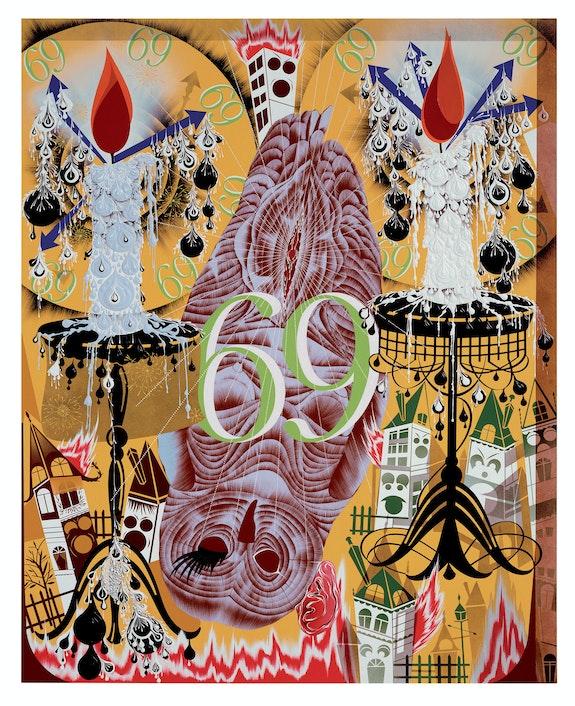 Lari Pittman, <em>Transfigurative and Needy</em>, 1991. Acrylic and enamel on mahogany. 82 x 66 inches. Collection of Gary and Tracy Mezzatesta. © Lari Pittman, courtesy of Regen Projects, LosAngeles