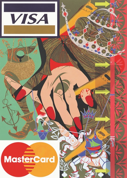 Lari Pittman, <em>Untitled #16 (A Decorated Chronology of Insistence and Resignation)</em>, 1993. Acrylic,enamel, and glitter on wood. 84 × 60 1/16 inches. Whitney Museum of American Art, New York. Gift of Peter Norton © Lari Pittman, courtesy of Regen Projects, Los Angeles.