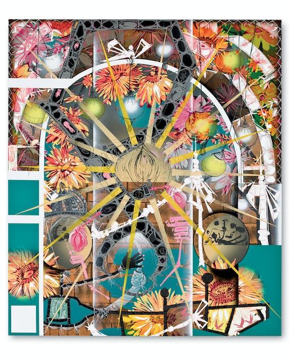 Lari Pittman, <em>Untitled #5</em>, 2010. Acrylic, Cel-Vinyl, and spray paint on gessoed canvas over wood. 102 x88 inches. Hammer Museum, Los Angeles. Purchase. © Lari Pittman, courtesy of Regen Projects, Los Angeles