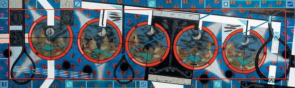 Lari Pittman, <em>Flying Carpet with a Waning Moon Over a Violent Nation</em>, 2013. Cel-Vinyl and spray paint oncanvas over wood. 108 × 360 1/4 inches. Collection of Maurice and Paul Marciano Art Foundation. © Lari Pittman, courtesy of Regen Projects, Los Angeles.