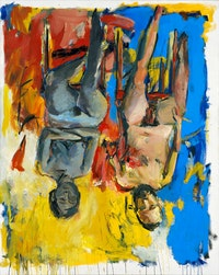 Georg Baselitz, <em>Schlafzimmer (Bedroom)</em>, 1975. Oil and charcoal on canvas, 98 1/2 x 78 3/4 inches. Georg Baselitz Treuhandstiftung.