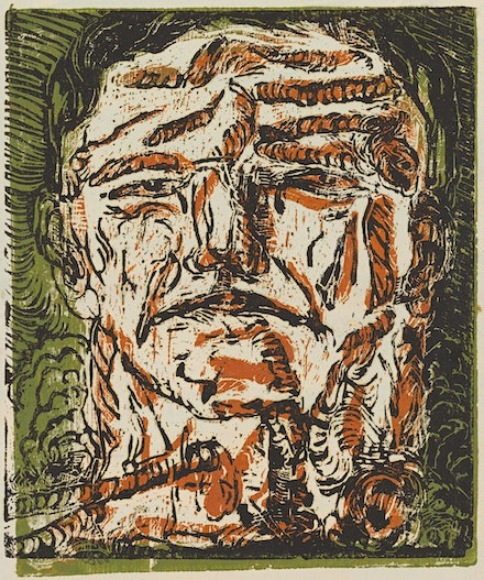 Georg Baselitz, <em>Großer Kopf (Large Head)</em>, 1966. Chiaroscuro woodcut, printed from two blocks, in black over brown and green, on primed paper, 18 3/4 x 15 7/8 inches. Private collection. Courtesy Galleria dell' Accademia.