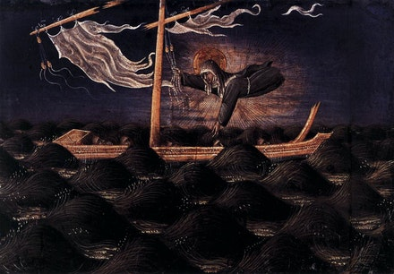 Giovanni di Paolo, <em>St Clare Rescuing the Shipwrecked</em>, c.1455-1460. Tempera on panel, 8 x 12 inches.