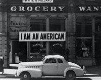 Dorothea Lange, <em>I Am an American</em>, 1942. Gelatin silver print, Library of Congress, Prints & Photographs Division, FSA/OWI Collection.