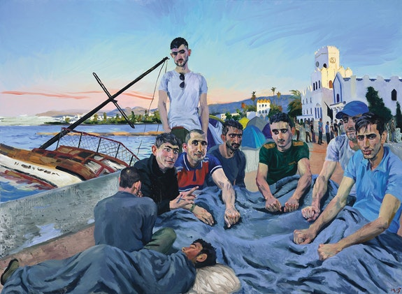Liu Xiaodong,<em> Refugees 4</em>, 2015. Oil on canvas, 86 1/2 x 118 inches. Courtesy the artist and Massimo De Carlo, Milan/London/Hong Kong.