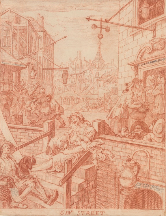 William Hogarth, <em>Gin Street</em>, 1750-51. Red chalk, over traces of black chalk (in left foreground), with graphite, incised with stylus; verso rubbed with red chalk for transfer. The Morgan Library & Museum. Photo: Steven H. Crossot.