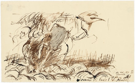 Georg Baselitz, <em>St. Clare Saving Shipwrecked – Giovanni di Paolo</em>, 1959. Bister, india ink, and wash on paper, 19.1 x 31.2 cm. © Georg Baselitz 2019. Photo: Jochen Littkemann, Berlin.