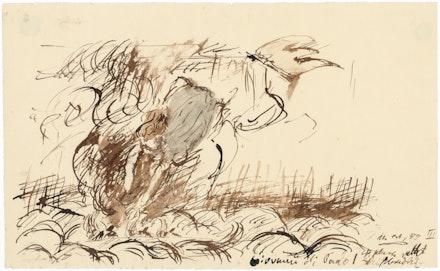 Georg Baselitz, <em>St. Clare Saving Shipwrecked – Giovanni di Paolo</em>, 1959. Bister, india ink, and wash on paper, 19.1 x 31.2 cm. © Georg Baselitz 2019. Photo: Jochen Littkemann, Berlin.