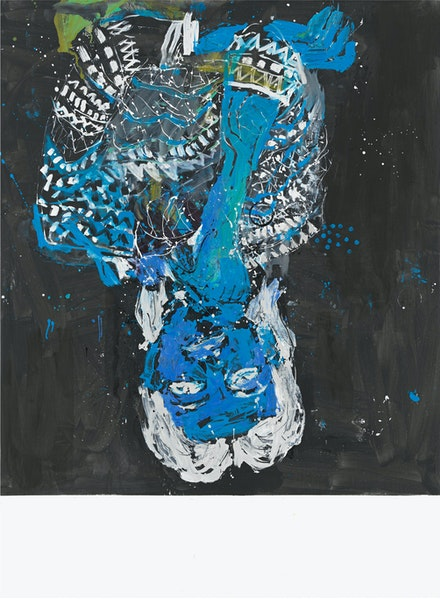 Georg Baselitz, <em>Elke negativ blau</em>, 2012. Oil on canvas, 280 x 207 cm. © Georg Baselitz 2019. Photo: Jochen Littkemann, Berlin.