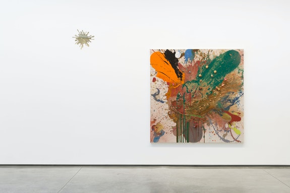 Installation view: <em>John Armleder: Sh/Ash/Lash/Splash</em>, 2019, David Kordansky Gallery, Los Angeles. Courtesy David Kordansky Gallery, Los Angeles. Photo: Jeff McLane.