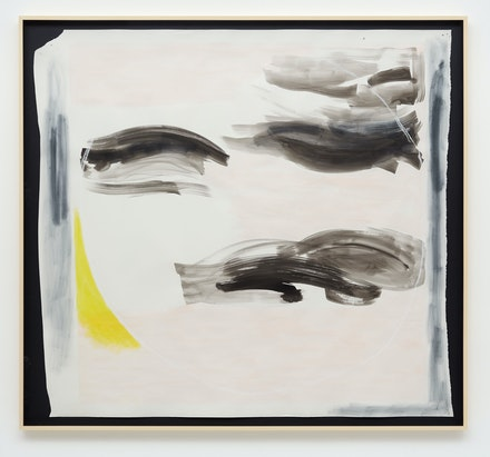 Monique Mouton, <em>Moon</em>, 2019. Watercolor, ink, soft pastel, pencil on paper, 63 x 68 x 2 3/4 inches framed. Courtesy the artist and Kayne Griffin Corcoran, Los Angeles. Photo: Flying Studio, Los Angeles.