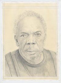 Portrait of Sam Gilliam, pencil on paper by Phong Bui. Based on a photograph by Fredrik Nilsen Studio.