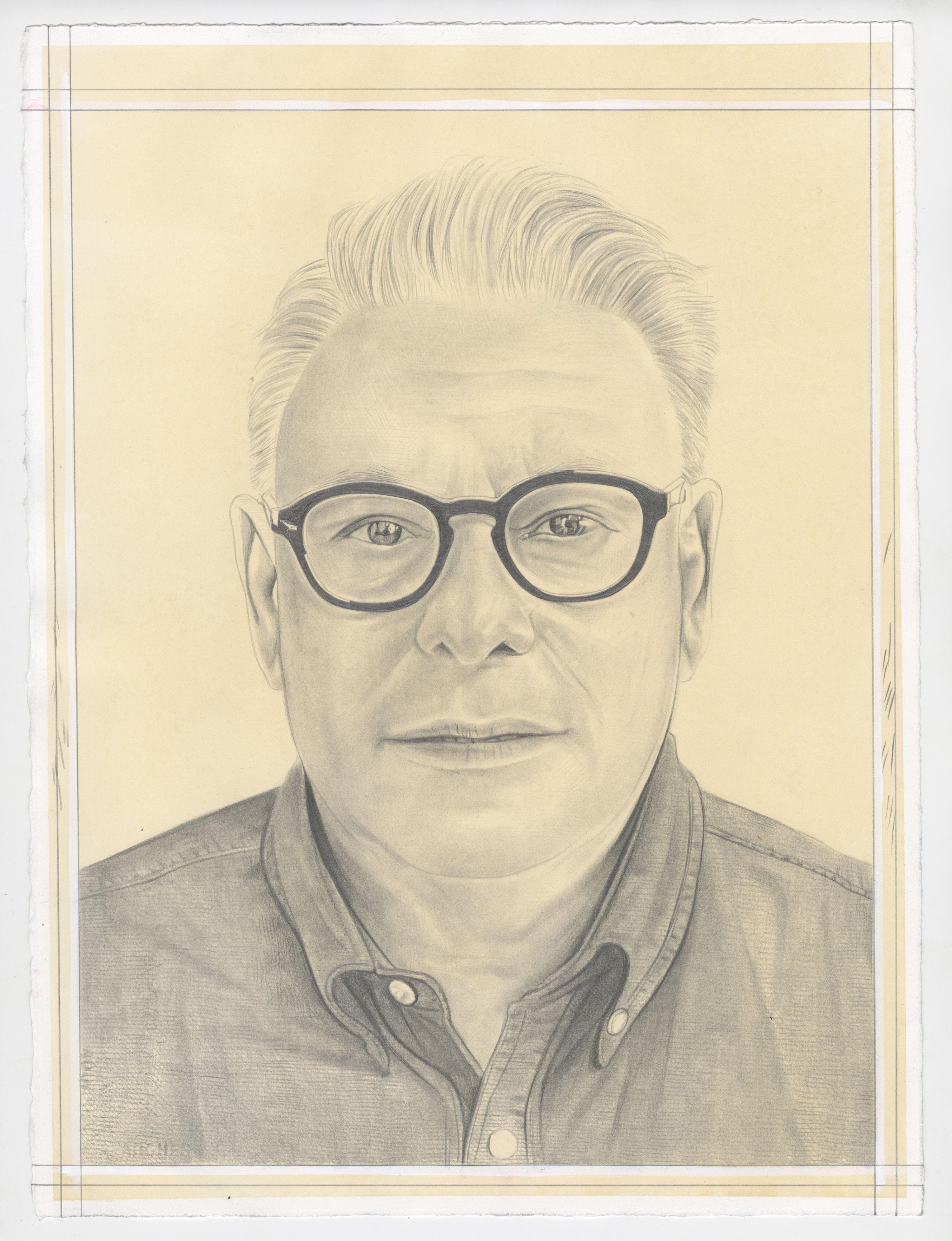 Portrait of Lari Pittman, pencil on paper by Phong Bui.