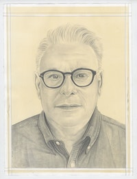 Portrait of Lari Pittman, pencil on paper by Phong Bui.