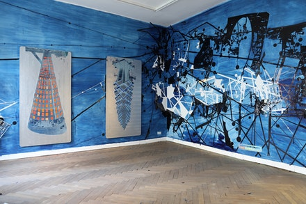 Installation shot, <em>Utopia Station</em>. Paintings pictured: (left) Tomas Vu, <em>Tower 1</em>, 2019,  cyanotype and acrylic on aluminum panel. 4 x 8 feet. (right) <em>Tower 2</em>, 2019,  cyanotype and acrylic on aluminum panel. 4 x 8 feet.Courtesy the artist.