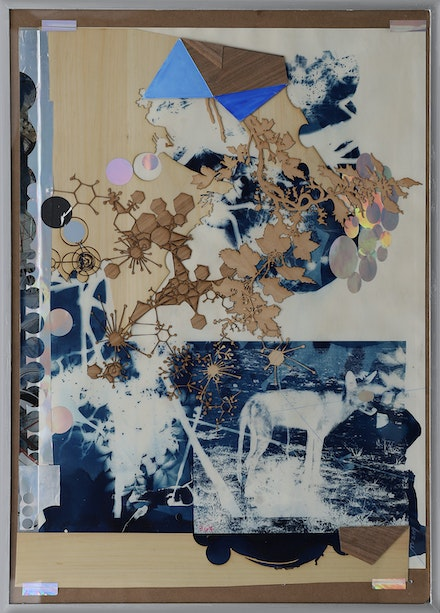 Tomas Vu, <em>364</em>, 2019, mixed media, cyanotype. 28.25 x 20.25 inches. Courtesy the artist.