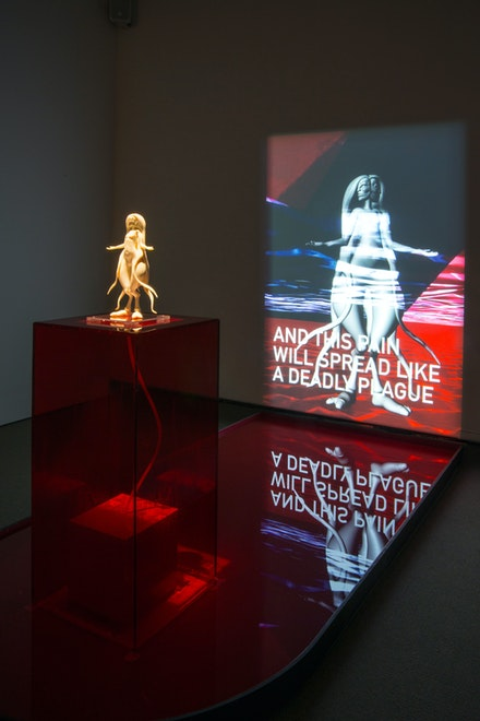 Morehshin Allahyari, <em>She Who Sees The Unknown: Aisha Qandisha</em>, MacKenzie Gallery, Regina, 2019. Installation with 3D printed resin sculpture, reflecting pool, and HD video, 2018–19. Photo: Don Hall.