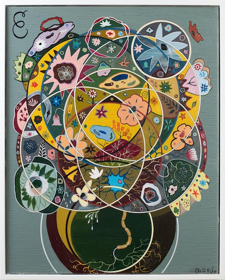 Keith Tyson, <em>Seed of Consciousness</em>, 2019. Oil on canvas. 78.6 x 63.1 cm / 31 x 24 7/8 in (framed). Photo: Alex Delfanne. © Keith Tyson. Courtesy of the artist and Hauser & Wirth