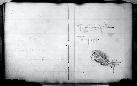 Signature and illustration by Pamela Colman Smith, dated February 1907. Pen and Brush Club Guest Book, 1907–1913: n.p. Pen and Brush Records, 1894-1934. Archives of American Art, Smithsonian Institution.