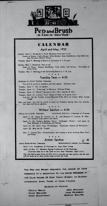 "Members bulletin from April 1932 showing typical programming when Pen + Brush  functioned as a private social club, which here includes a lecture on ""New Methods of Publishing and Selling"" by an editor of Publisher's Weekly as well as a Spring Exhibition of oil paintings with a $50 first prize juried by three outside artists"