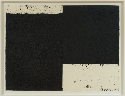 Richard Serra, <em>Diptych #6</em>, 2019. Paintstick, etching ink, and silica on two sheets of handmade paper, 47 1/2 x 63 1/4 inches. © 2019 Richard Serra/Artists Rights Society (ARS), New York. Photo: Rob McKeever. Courtesy Gagosian.