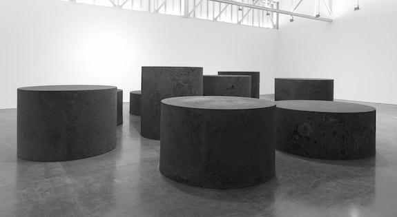 Richard Serra, <em>Nine</em>, 2019. Forged steel, nine rounds: 84 inches high, 76 3/4 inches diameter; 78 inches high, 79 3/4 inches diameter; 72 inches  high, 83 inches diameter; 66 inches high, 86 inches diameter; 60 inches high, 91 inches diameter; 54 inches high, 96 inches diameter; 48 inches high, 102 inches diameter; 42 1/2 inches high, 108 inches diameter; 38 1/4 inches high, 114 inches diameter. © 2019 Richard Serra/Artists Rights Society (ARS), New York. Photo: Rob McKeever. Courtesy Gagosian.