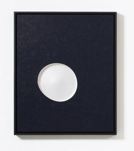 Josiah McElheny,<em> Lunar Waxing</em>, 2019. Acrylic on board with inset, hand-formed, polished and ground glass, low-iron mirror, ash frame, 32 7/8 x 24 7/8 x 2 1/8 inches. © Josiah McElheny 2019. Courtesy the artist and James Cohan, New York.