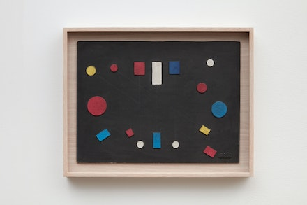 Loló Soldevilla, <em>Untitled (Sin título)</em>, 1956. Collage, mixed media on cardboard, 15 1/2 x 21 3/4 inches. © Martha Flora Carranza Barba, universal heir of the work of Loló Soldevilla. Courtesy Sean Kelly, New York.
