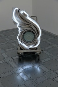 Elaine Cameron-Weir, <em>at the end of the line an echo sliding downtown the mercurial reflective pool of a familiar voice and me a person it never made real in the mirrors of my own halls</em>, 2019. Concrete, liquid candles, glass, stainless steel, leather, neon, 44 3/4 x 29 1/2 x 31 inches. Courtesy the artist and JTT, New York. Photo: Isabel Asha Penzlien.
